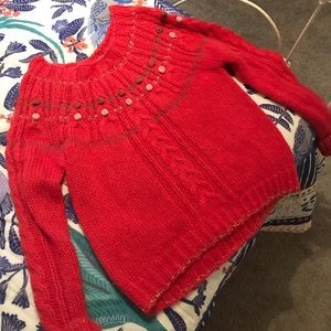 Timo Free People red sweater gold accents large